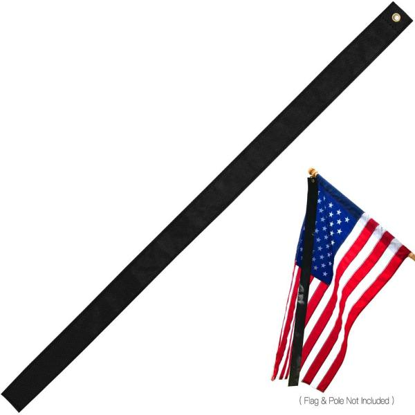 5 ft. x 2.5 in Mourning Flag Streamer Half-Mast Mourning Ribbon Double Stitched Honoring The Fallen Half