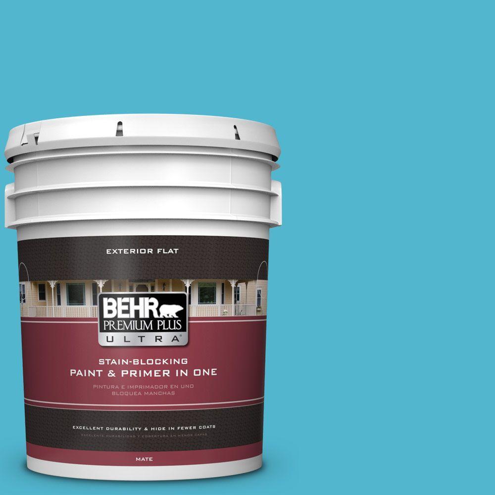 BEHR Premium Plus Ultra 5-gal. #520B-5 Liquid Blue Flat Exterior Paint, Blues