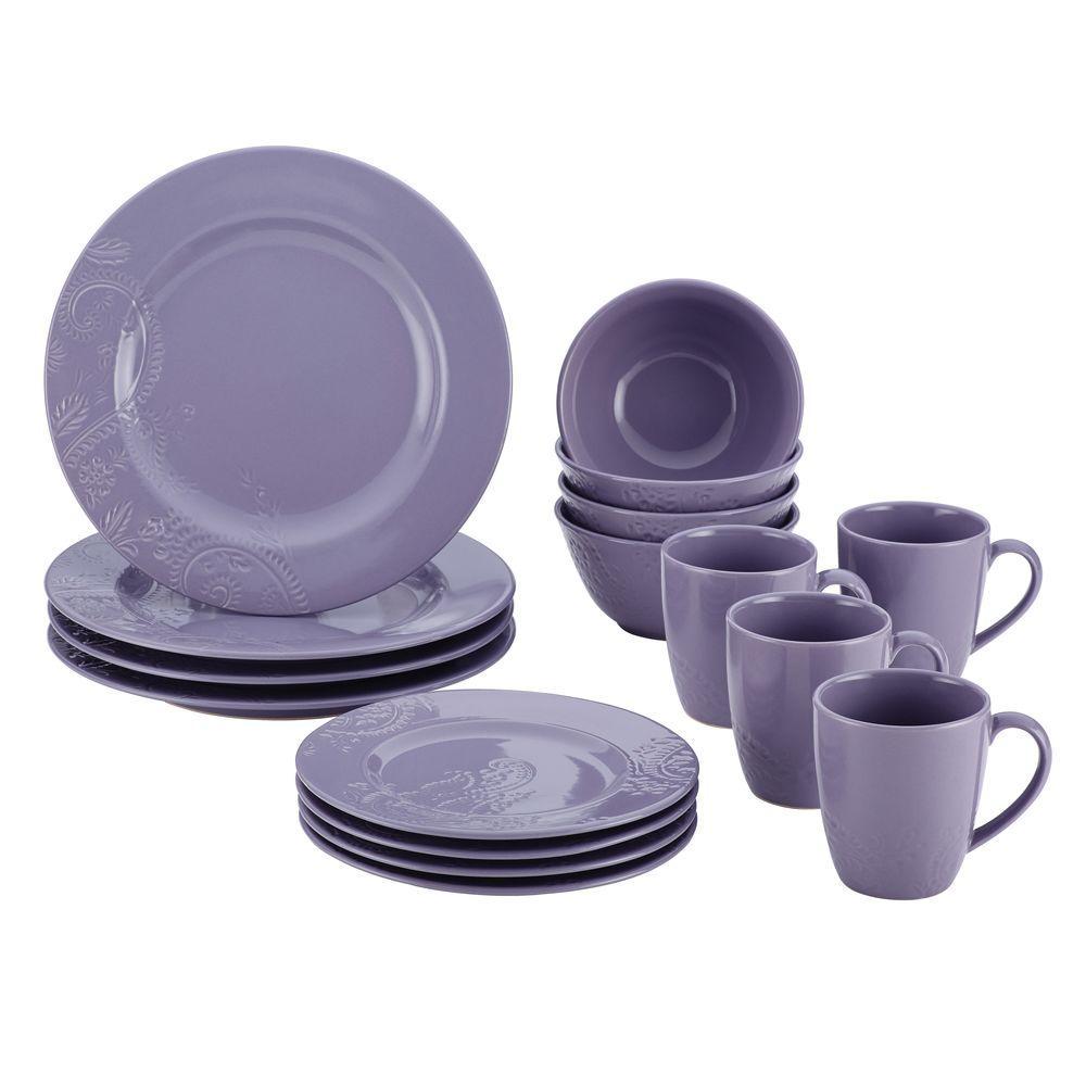 BonJour Dinnerware Paisley Vine 16-Piece Stoneware Dinnerware Set in Lavender