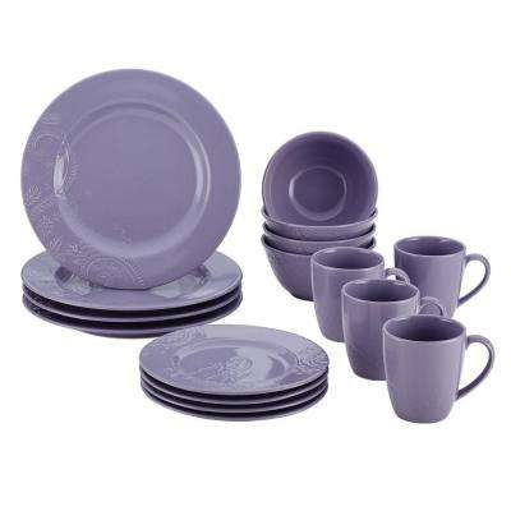 Dinnerware Paisley Vine 16-Piece Stoneware Dinnerware Set in Lavender