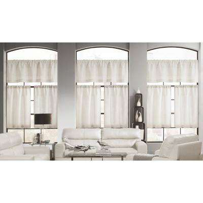 Keighley Linen and Poly Pole Top Kitchen Curtain - 58 in. W x 15 in. L in (3-Piece)