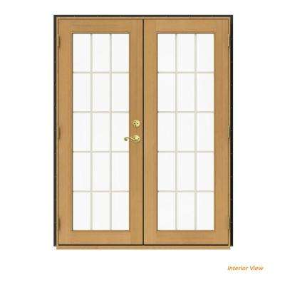 60 in. x 80 in. W-2500 Bronze Clad Wood Right-Hand 15 Lite French Patio Door w/Stained Interior