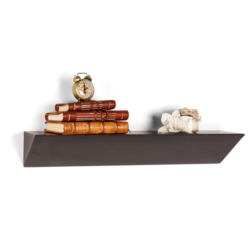 Contempo Walnut Grain MDF Triangular Ledge Floating Wall Shelf