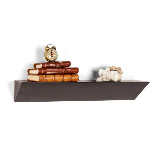 DANYA B Contempo Walnut Grain MDF Triangular Ledge Floating Wall Shelf
