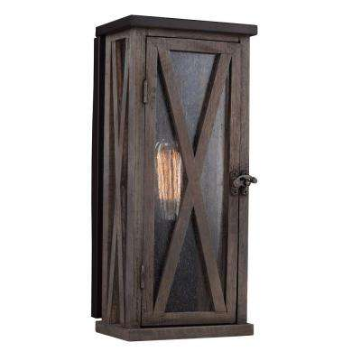 Lumiere' Collection 1-Light Dark Weathered Oak/Oil-Rubbed Bronze Outdoor Sconce