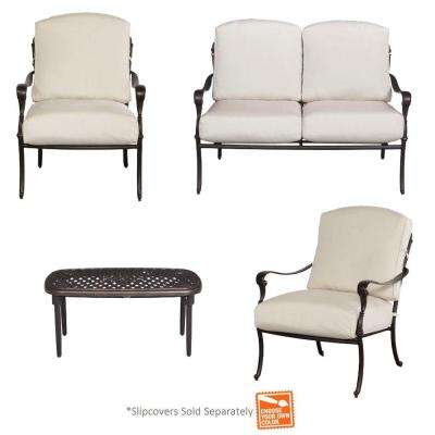 Edington 4 Piece Patio Conversation Set With Cushion Insert (Slipcovers  Sold Separately)