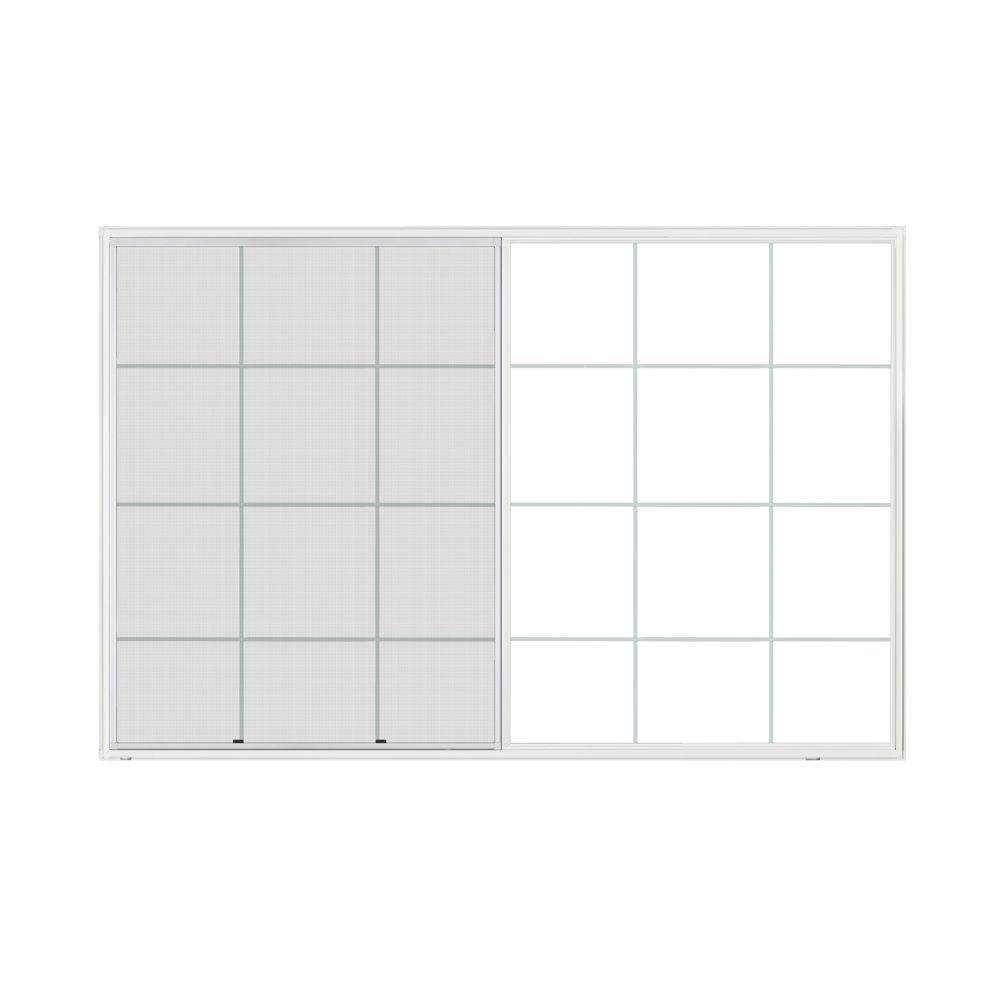 JELD-WEN 71.5 in. x 47.5 in. A-200 Series Sliding Aluminum Window with Low-E Glass and Grids - White