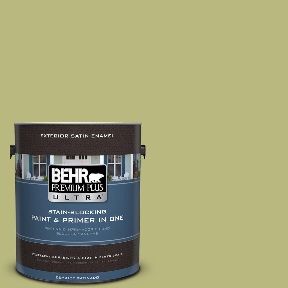 BEHR Premium Plus Ultra 1-gal. #400D-5 Grass Cloth Satin Enamel Exterior Paint