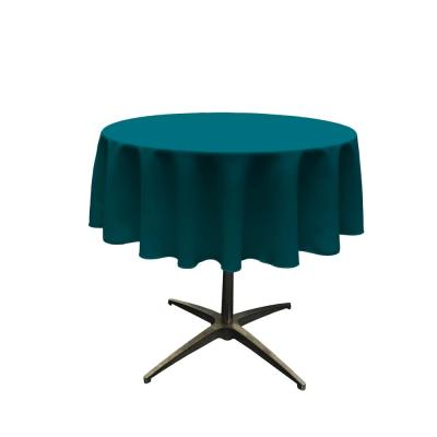 58 in. Round Dark Teal Polyester Poplin Tablecloth