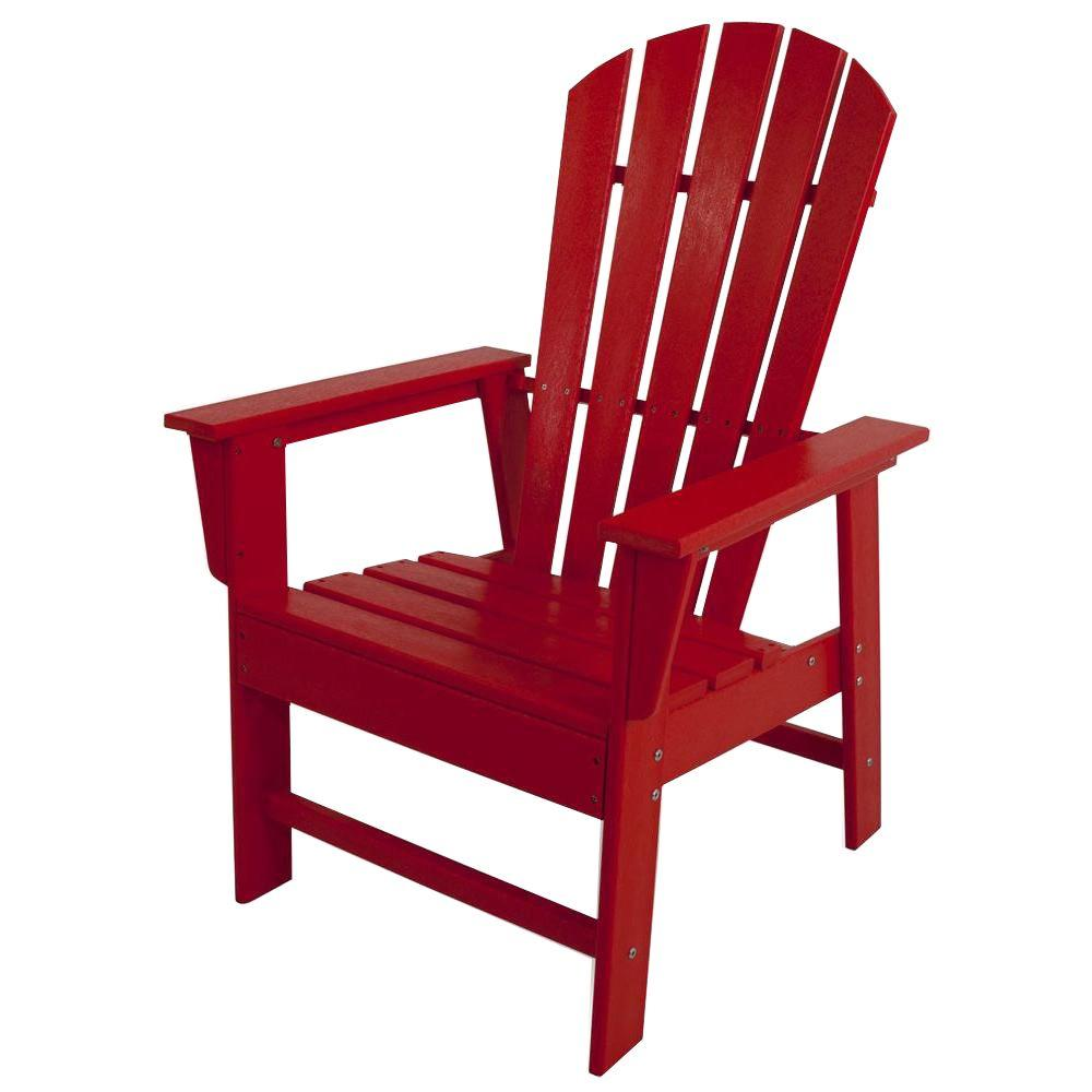 POLYWOOD South Beach Sunset Red All-Weather Plastic Outdoor Dining Chair