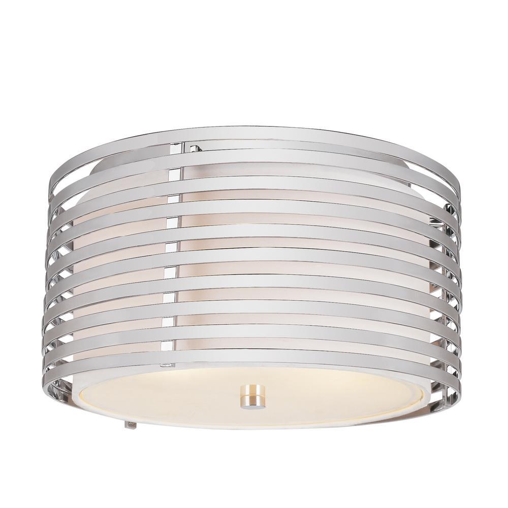 Stewart 3-Light Ceiling Polished Chrome Incandescent Flush Mount