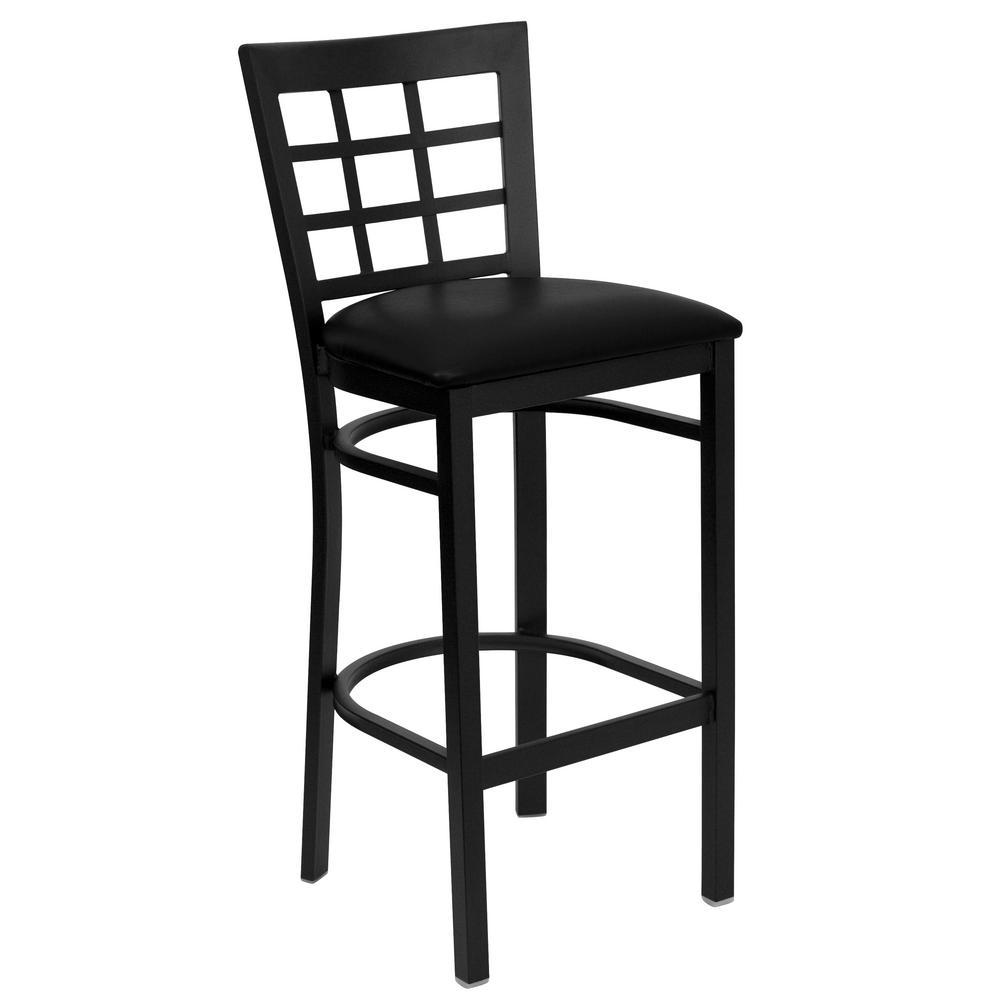 Black Window Back Metal Restaurant Barstool - Black Vinyl Seat
