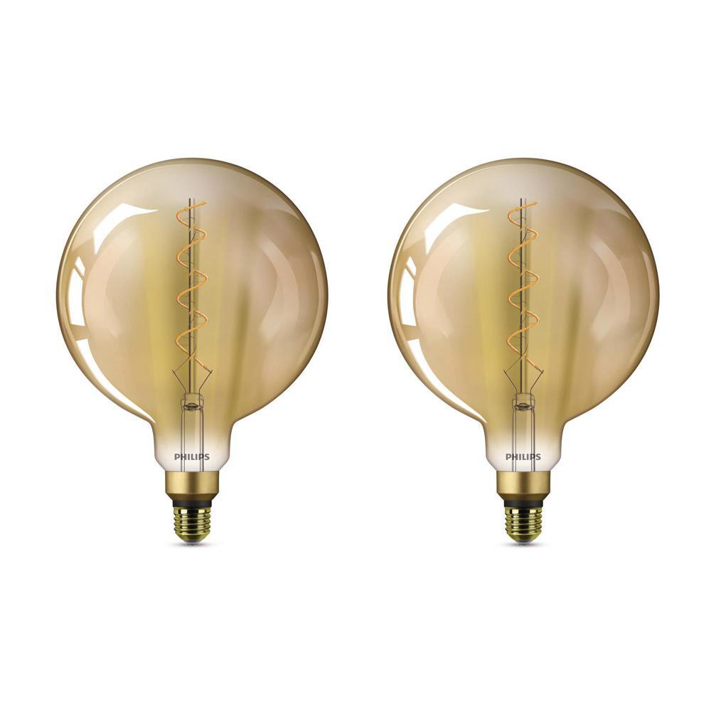 25-Watt Equivalent G63 Dimmable Vintage Glass Edison LED Large Light Bulb Amber Warm White (2000K) (2-Pack)