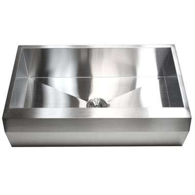 Farmhouse Well Angle Apron Front 36 in. x 22 in. x 10 in. Stainless Steel 16-Gauge Single Bowl Zero Radius Kitchen Sink