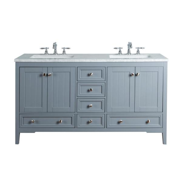 New Yorker 60 in. Grey Double Sink Bathroom Vanity with Marble Vanity Top and White Basin