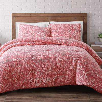 Sand Washed Cotton 3-Piece Coral Full and Queen Duvet Set