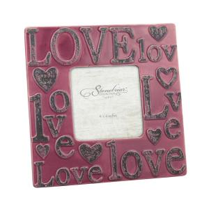 Stonebriar Collection 1-Opening 4 inch x 4 inch Worn Marsala Ceramic Love Picture Frame by Stonebriar Collection