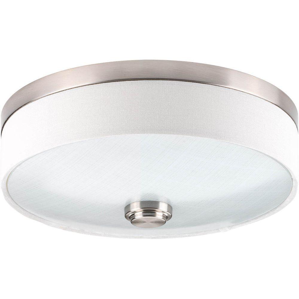 10 in. Weaver Collection 1-Light Brushed Nickel Integrated LED Flush Mount