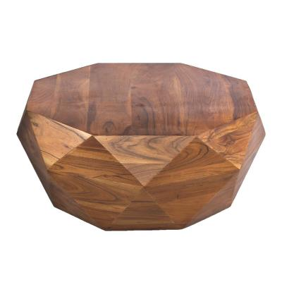 Diamond Shape 8.5 Sq ft Covered Dark Brown Acacia Wood Coffee Table with Smooth Top