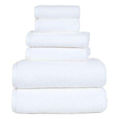 100% Egyptian Cotton Zero Twist Towel Set in White (6-Piece)