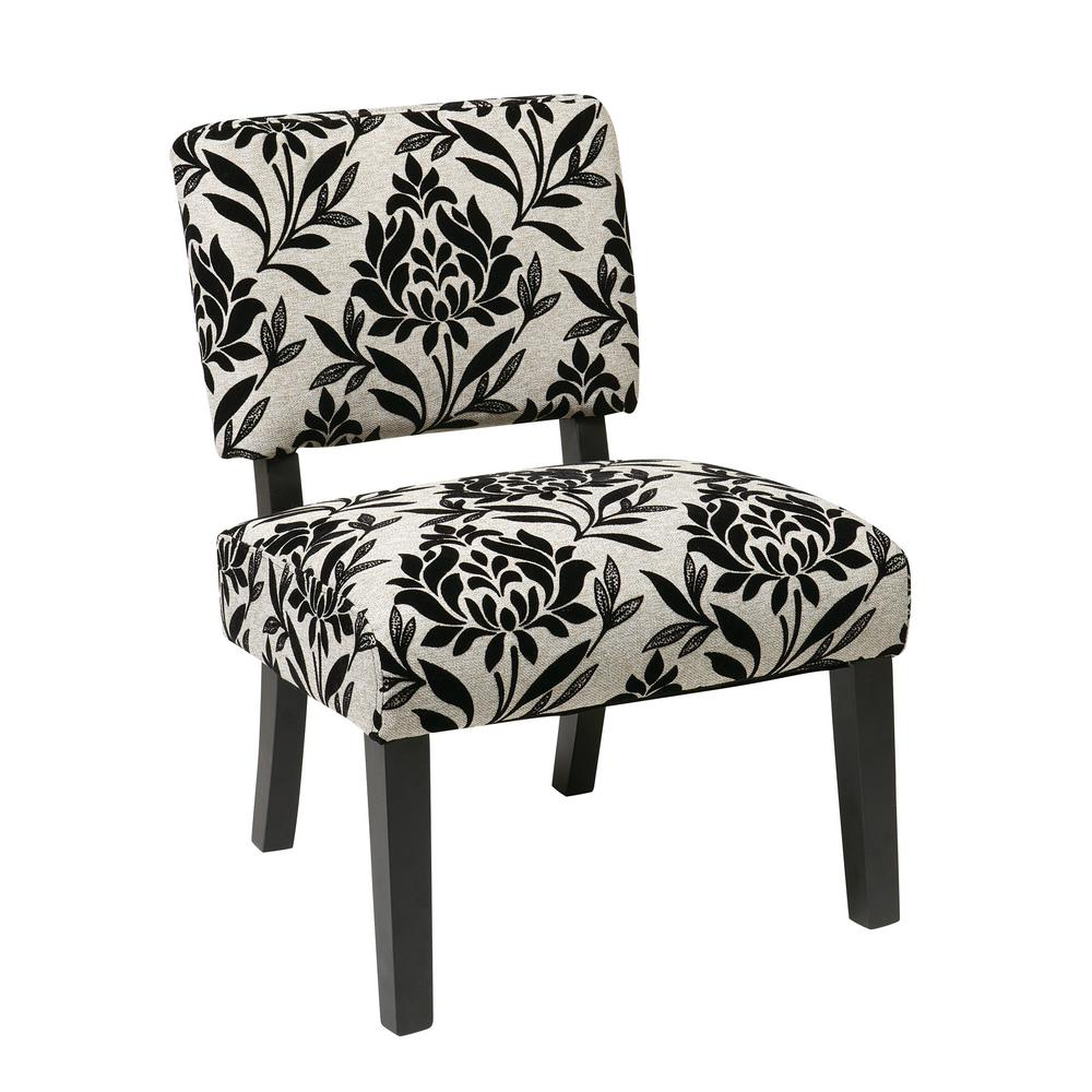 OSP Home Furnishings Jasmine Paradise Accent Chair Our attractive, comfortable Jasmine Accent Chair is the perfect piece to make any room in your home come alive . The solid wood leg construction adds a sense of elegance allowing for a mix of both modern and classic design preferences. Available assortment of high-performance, stunning fabrics make for a one of a kind style . Color: Paradise.