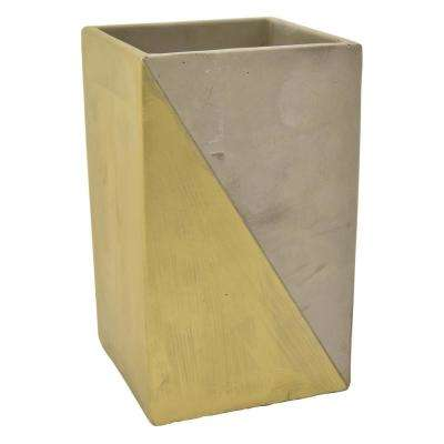 9 in. Gray and Gold Flower Pot