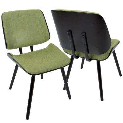 Lombardi Espresso And Green Dining Accent Chair