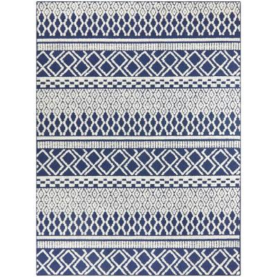 Striped - 9 X 12 - Blue - Outdoor Rugs