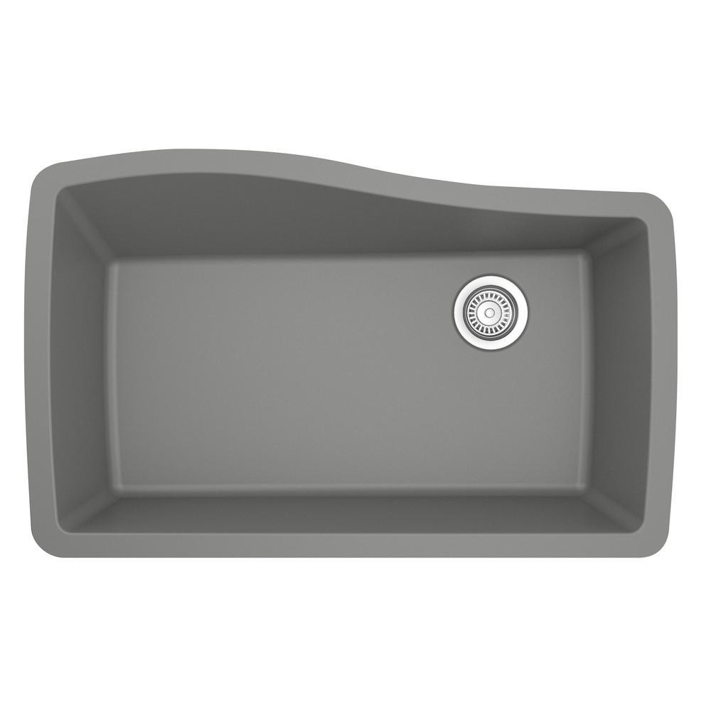 Karran Undermount Quartz Composite 33 in. Single Bowl Kitchen Sink in Grey