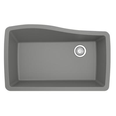 Undermount Quartz Composite 33 in. Single Bowl Kitchen Sink in Grey