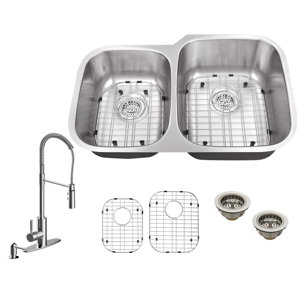 All-in-One Undermount Stainless Steel 32 in. 40/60 Double Bowl Kitchen Sink