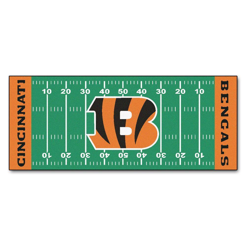 Cincinnati Bengals 3 ft. x 6 ft. Football Field Rug Runner Rug