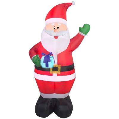 42.52 in. W x 33.47 in. D x 77.95 in. H Lighted Inflatable Santa with Present