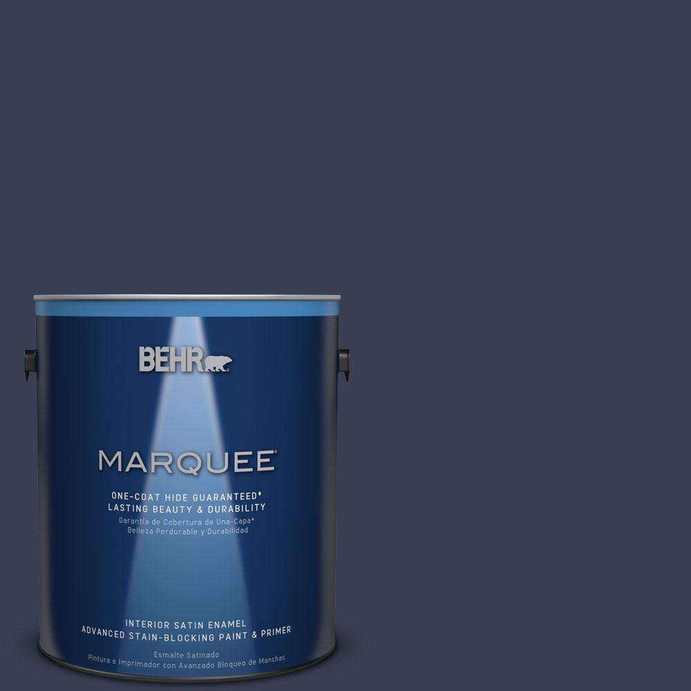 BEHR MARQUEE 1 Gal. #HDC CL 26A Indigo Ink Satin Enamel Interior Paint And  Primer In One 745301   The Home Depot