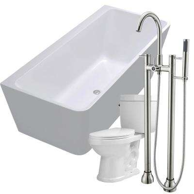 Strait 67 in. Acrylic Flatbottom Non-Whirlpool Bathtub in White with Sol Faucet and Talos 1.6 GPF Toilet
