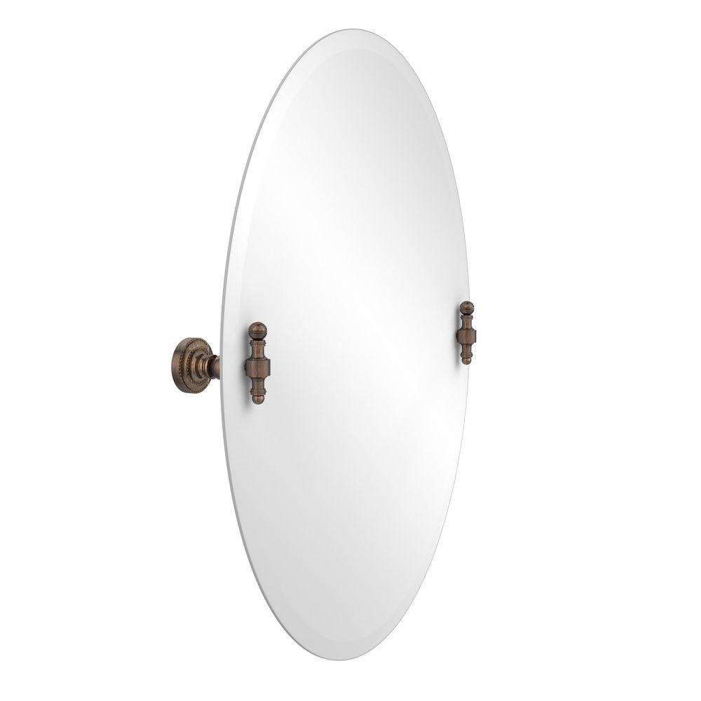 Retro-Dot Collection 21 in. x 29 in. Frameless Oval Tilt Mirror