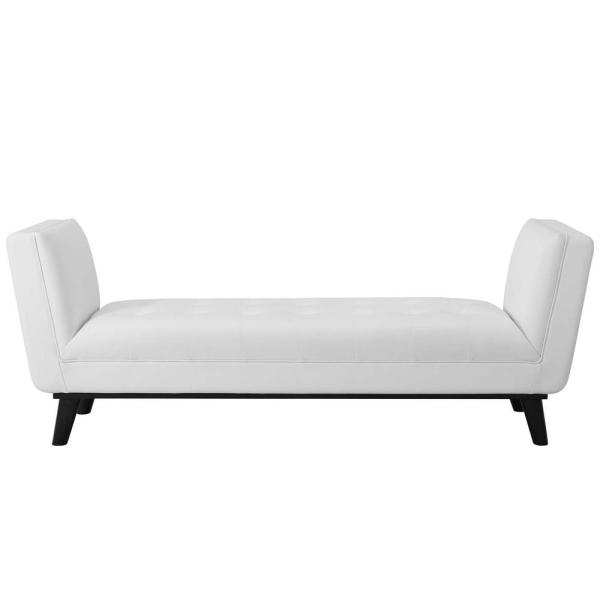 MODWAY Haven White Tufted Button Faux Leather Accent Bench EEI-3003-WHI