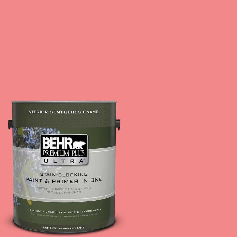 1 gal. #150B-5 Cheery Semi-Gloss Enamel Interior Paint and Primer in