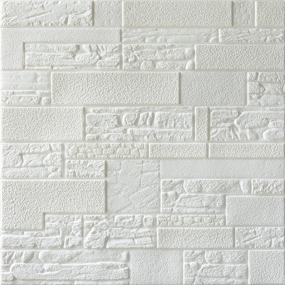Falkirk Jura II 28 in. x 28 in. Peel and Stick Off White Faux Bricks, Stones PE Foam Decorative Wall Paneling (10-Pack)