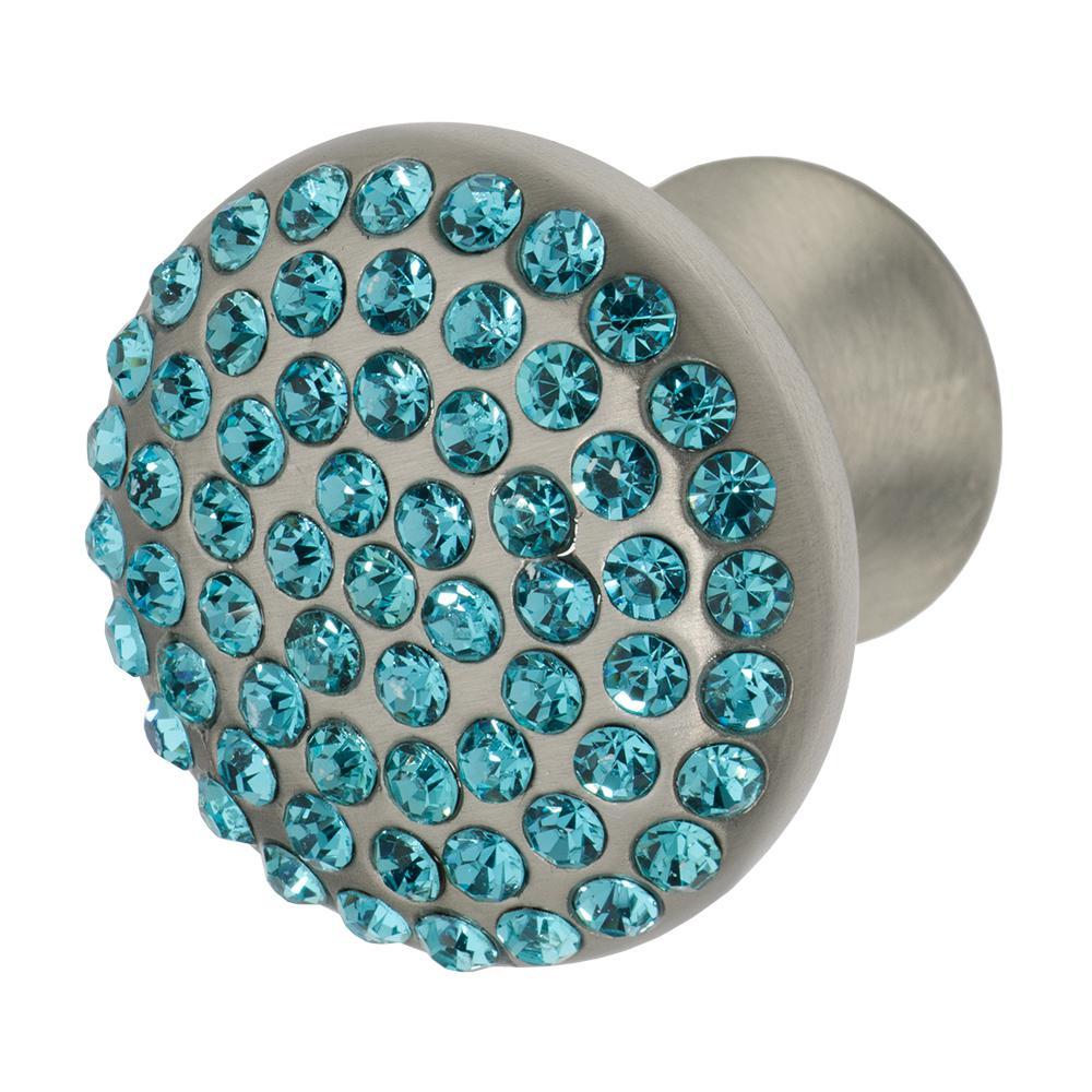 Vivacite 1-1/4 in. Satin Nickel with Aqua Blue Crystal Cabinet Knob