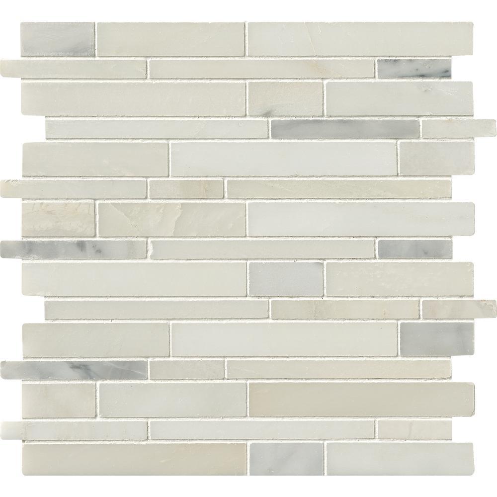MSI Greecian White Interlocking 12 in. x 12 in. x 10 mm Natural Marble Mesh-Mounted Mosaic Tile
