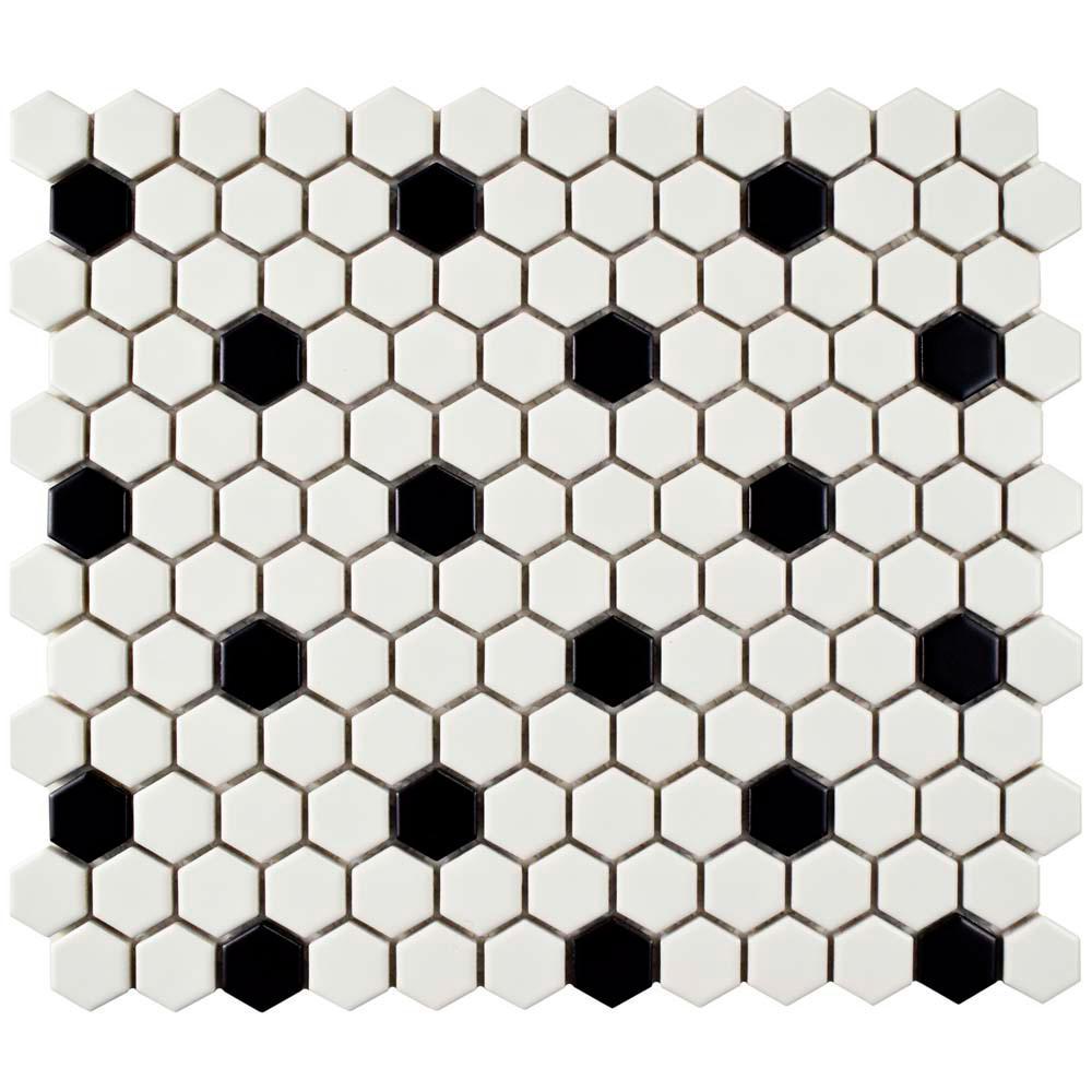 Merola Tile Metro Hex Matte White with Black Dot 10-1/4 in. x 11-3 ...
