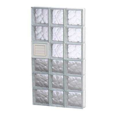 21.25 in. x 46.5 in. x 3.125 in. Frameless Wave Pattern Glass Block Window with Dryer Vent