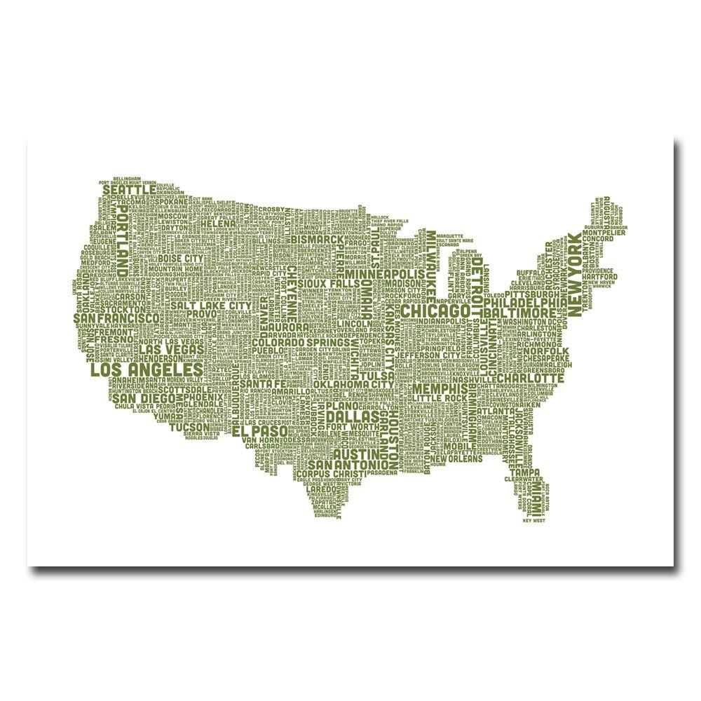 16 in. x 24 in. US City Map XVIII Canvas Art