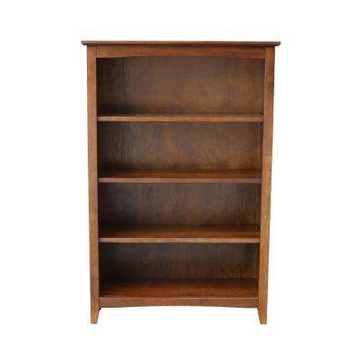 48 in. Espresso Wood 4-shelf Standard Bookcase with Adjustable Shelves