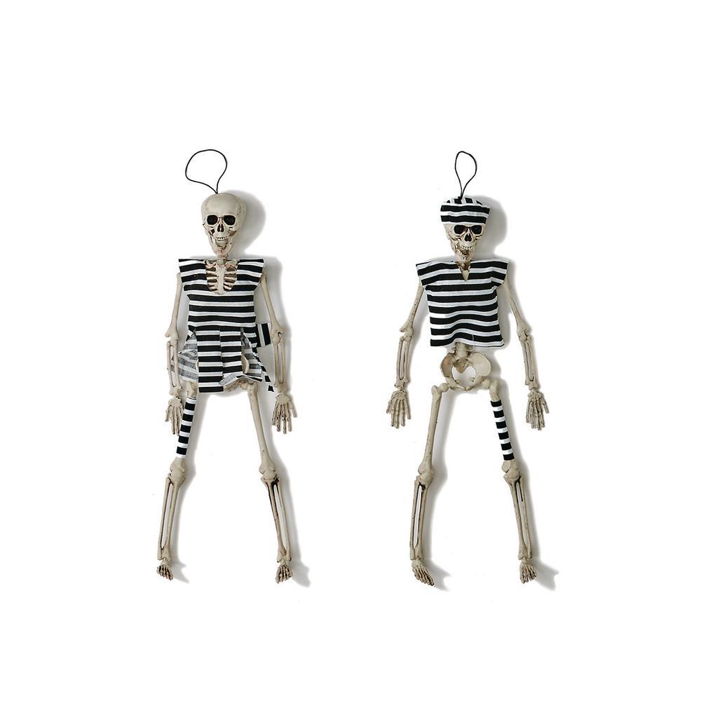 16 in. Halloween Hanging Skeleton Convict (Set of 4)