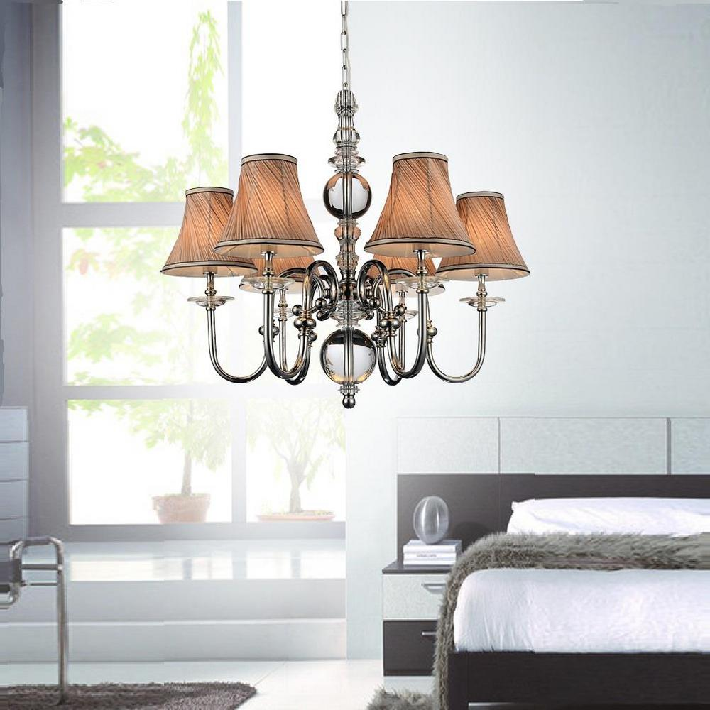 CWI Lighting Curves 6-Light Chrome Chandelier With Beige