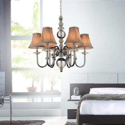 Curves 6-Light Chrome Chandelier with Beige Shade