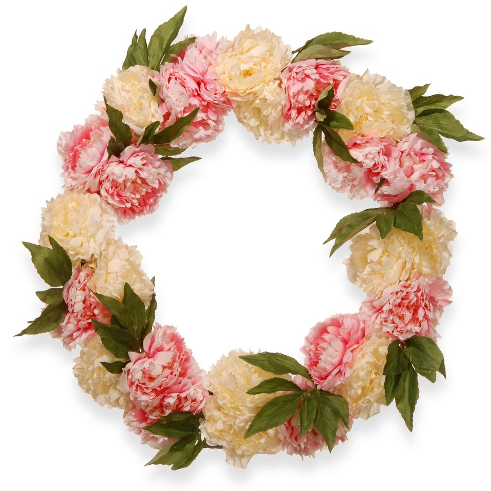National Tree Company 24 In Pink And White Flower Wreath Ras