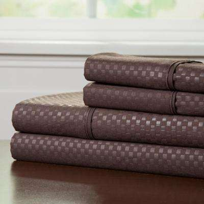 Embossed 4-Piece Chocolate 90 GSM Microfiber Full Sheet Set